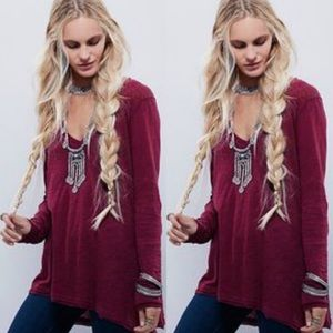 Free People Anna BurnOut V Neck Long Sleeve Tee